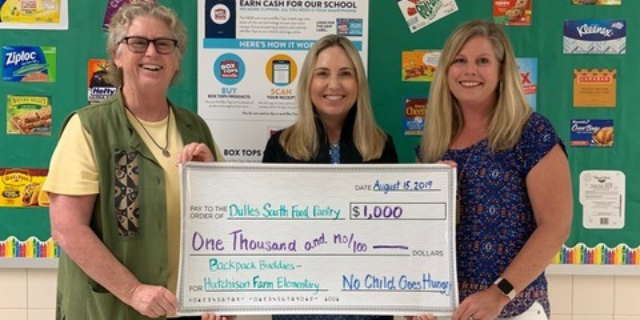NCGH Donates $1000 to Dulles South Backpack Buddies Program